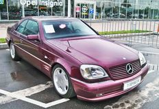 August 18, 2010, Kiev, Ukraine. Mercedes-Benz CL 500 Lorinser in burgundy color. The car is parked. Mercedes-Benz CL 500 Lorinser in burgundy color. The car is royalty free stock image