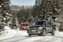 Mercedes-Benz X Class drifting in winter royalty free stock images