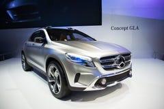 Mercedes Benz Concept GLA auf Anzeige Stockbild