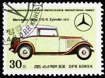 Mercedes Benz 170/6 cylinder, 1931, 60th Anniversary of Mercedes-Benz serie, circa 1986. MOSCOW, RUSSIA - MARCH 23, 2019: Postage stamp printed in Korea shows royalty free stock image