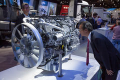 Mercedes Benz diesel motor at the 65th IAA Stock Images