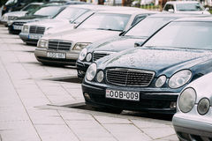 Mercedes-Benz E-Class W210 And W211 Cars Parked In Row In Street Stock Photos