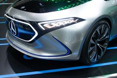 Thailand - Dec , 2018 : Mercedes Benz Eqa electric concept model for future car in motor show . close up headlight royalty free stock image
