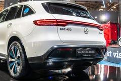 Mercedes-Benz EQC 400 4Matic 300kW SUV, het modeljaar van 2019, EQ-merk stock afbeeldingen
