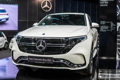 Mercedes-Benz EQC 400 4Matic 300kW SUV, 2019 a?os modelo, marca de EQ imagen de archivo libre de regalías