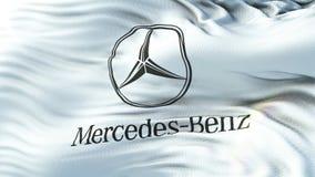 Mercedes-Benz flagga som vinkar på solen Sömlös ögla med högt detaljerad tygtextur Ögla som är klar i upplösning 4k arkivfilmer