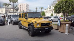 Mercedes Benz G 63 AMG Crazy Color Edition. Monte-Carlo, Monaco - June 16, 2019: Mercedes Benz G 63 AMG Crazy Color Edition SUV Parked In Front Of The Monte stock video footage