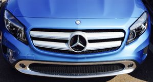 Mercedes Luxury Vehicle Front End. Mercedes-Benz is a global automobile manufacturer and a division of the German company Daimler AG. The brand is known for stock photos