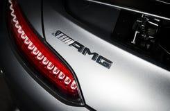 Mercedes-Benz GT-c AMG 6 3 buitendetailsembleem stock foto's