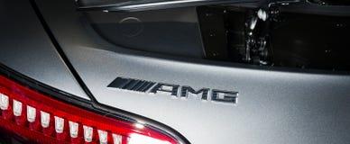 Mercedes-Benz GT-C AMG 6 un logo esteriore di 3 dettagli fotografie stock