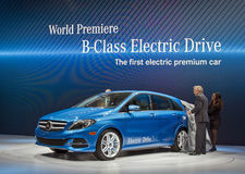 New York International Auto Show 2013. Mercedes-Benz introduces the 2104 B-Class electric drive car at the 2013 New York International Auto Show Stock Image