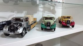 Mercedes Benz LO2750 transporters scale model cars in display Royalty Free Stock Images