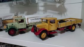 Mercedes Benz LO2750 transporters scale model cars in display Royalty Free Stock Photography