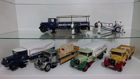 Mercedes Benz LO2750 transporters scale model cars in display Royalty Free Stock Image