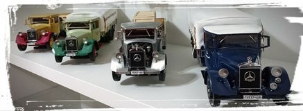 Mercedes Benz LO2750 transporters scale model cars in display Stock Photography