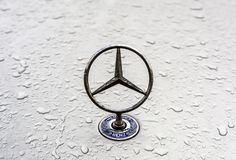 Mercedes Benz logo. With raindrops stock photo