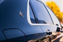Mercedes-Benz Maybach kierownicy 2017 zakończenie 2018-05-29 Chisinau Moldova Błyszcząca powierzchnia luksusowy samochód z znakie Fotografia Royalty Free