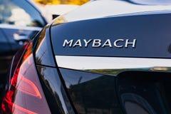 Mercedes-Benz Maybach kierownicy 2017 zakończenie 2018-05-29 Moldova Błyszczący zderzak luksusowy samochód Obrazy Stock