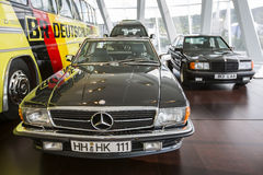 Mercedes Benz Museum. Stuttgart, Germany - May 25: Mercedes automobile inside the Mercedes-Benz Museum in Stuttgart, Germany, on May 25, 2014. The museum covers Royalty Free Stock Images