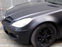 Mercedes Benz negra SL63 AMG Imagen de archivo