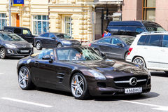 Mercedes-Benz R197 SLS AMG. MOSCOW, RUSSIA - JUNE 2, 2013: Motor car Mercedes-Benz R197 SLS AMG at the city street Royalty Free Stock Photos