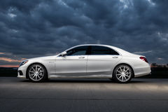 2015 Mercedes-Benz S63 AMG. 2015 Mercedes Benz S63 AMG with a twin turbo V8 Royalty Free Stock Photo