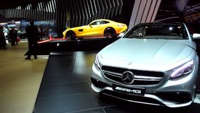 Mercedes-Benz S-Class S65 AMG Coupe and Mercedes-AMG GT sports car stock video footage