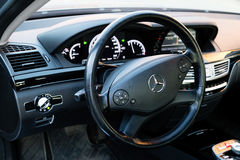 Mercedes-Benz S-Class S350 long car stand on a street in Mytishchi District in Moscow Oblast, Russia, 12 June 2015. Interior (Designo) of used Mercedes-Benz S Stock Images
