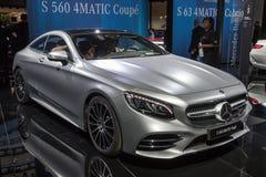 Mercedes Benz S560 4MATIC Coupe car. FRANKFURT, GERMANY - SEP 12, 2017: Mercedes Benz S560 4MATIC Coupe car showcased at the Frankfurt IAA Motor Show 2017 Stock Images