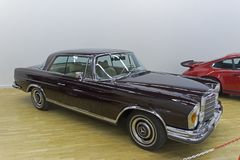 Mercedes-Benz 280 SE car. Moscow, Russia - November 10, 2018: Mercedes-Benz 280 SE car made in 1970 at the exhibition of old and rare cars royalty free stock photos