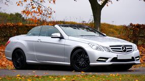 Mercedes Benz Silver Coupe Convertible Stock Image