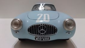 Mercedes Benz 300SL racing legend model car. Race chassis from the german car producer being displayed in a diecast collection Royalty Free Stock Photos