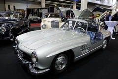 1957 Mercedes Benz 300SL Roadster car. ESSEN, GERMANY - APR 6, 2017: Vintage 1957 Mercedes Benz 300 SL Roadster classic car presented at the Techno Classica Royalty Free Stock Photo