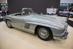 1957 Mercedes Benz 300SL Roadster classic car. ESSEN, GERMANY - APR 6, 2017: a 1957 Mercedes Benz 300SL Roadster classic car presented at the Techno Classica Royalty Free Stock Photos
