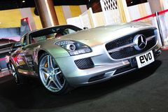 Mercedes Benz SLS AMG. NONTHABURI, THAILAND - MAY 21: The Mercedes Benz SLS AMG in Supercar & Import car Show on May 21, 2011 in Nonthaburi, Thailand Stock Images