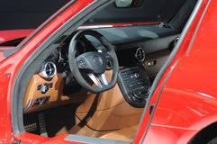 Mercedes benz sls amg   Car interior. Interior of new luxury sports car Stock Image