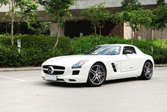 Mercedes-Benz SLS AMG Coupe. Display in Hong Kong 2010 Stock Images