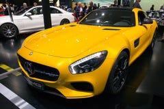 Mercedes-Benz SLS AMG. FRANKFURT, GERMANY - SEP 16, 2015: Yellow Mercedes-Benz SLS AMG sports car at the IAA 2015 Royalty Free Stock Images