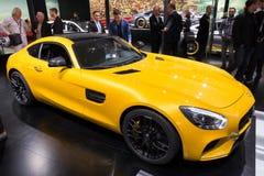 Mercedes-Benz SLS AMG. FRANKFURT, GERMANY - SEP 16, 2015: Yellow Mercedes-Benz SLS AMG sports car at the IAA 2015 Stock Images