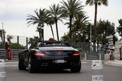 Mercedes-Benz SLS AMG supercar in Monaco. Mercedes-Benz SLS AMG in Monte Carlo, Monaco during Top Marques 2017. Top Marques is a car trade fair Royalty Free Stock Image