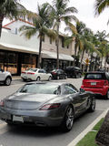 Mercedes-Benz SLS AMG unterstützen Stockbild