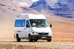 Mercedes-Benz Sprinter. ANTOFAGASTA, CHILE - NOVEMBER 16, 2015: Old minibus Mercedes-Benz Sprinter at the gravel road Stock Photo