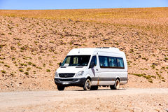 Mercedes-Benz Sprinter. ANTOFAGASTA, CHILE - NOVEMBER 16, 2015: Small touristic bus Mercedes-Benz Sprinter in the Atacama desert Stock Image
