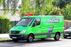 Mercedes-Benz Sprinter. BERLIN, GERMANY - AUGUST 12, 2014: Green cargo van Mercedes-Benz Sprinter at the city street Royalty Free Stock Photo