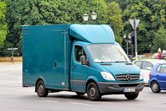 Mercedes-Benz Sprinter. BERLIN, GERMANY - AUGUST 15, 2014: Green cargo van Mercedes-Benz Sprinter at the city street Stock Image