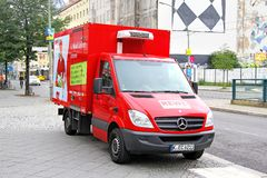 Mercedes-Benz Sprinter. BERLIN, GERMANY - SEPTEMBER 12, 2013: Red Mercedes-Benz Sprinter cargo van at the city street Stock Images