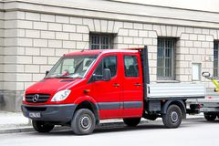 Mercedes-Benz Sprinter. BERLIN, GERMANY - SEPTEMBER 12, 2013: Red Mercedes-Benz Sprinter truck at the city street Stock Images