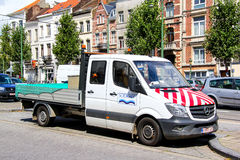 Mercedes-Benz Sprinter. BRUSSELS, BELGIUM - AUGUST 9, 2014: Quad cab road service truck Mercedes-Benz Sprinter in the city street Royalty Free Stock Photography