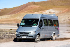 Mercedes-Benz Sprinter 413CDI. ANTOFAGASTA, CHILE - NOVEMBER 16, 2015: Compact bus Mercedes-Benz Sprinter 413CDI at the countryside Stock Photography