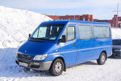 Mercedes-Benz Sprinter 316CDI. NOVYY URENGOY, RUSSIA - APRIL 6, 2013: Blue passenger van Mercedes-Benz Sprinter 316CDI in the city street Royalty Free Stock Photography